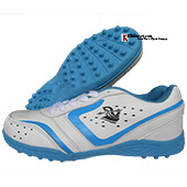 Spartan Champ With PVC Sole Cricket Shoes color Light Blue and White