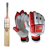 SS Super Power English Willow Cricket Bat and THRAX Neo 11 Batting Gloves White and Red