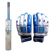 SS Ton Custom English Willow Cricket Bat and THRAX Duro 11 Batting Gloves Red