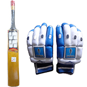SS Magnum English Willow Cricket Bat and THRAX NEO 11 Batting Gloves Blue