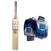 SS Super Power English Willow Cricket Bat and THRAX Duro 11 Batting Gloves Blue