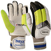 THRAX Academy Cricket Batting Gloves White Black and Lime