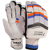 Thrax Terminator Cricket Batting Gloves Color White Orange and Blue