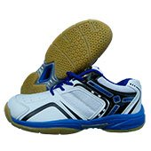 Thrax True Cushion X10 Badminton Shoe White Blue and Black