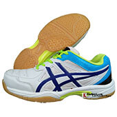 Thrax Gel Extreme Badminton Shoe White Black and Lime