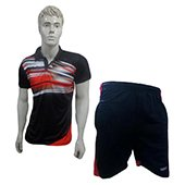 Thrax badminton shorts Black and Red Size Medium, and T Shirt