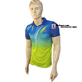 Thrax Polo Badminton T Shirt Blue and Lime M1