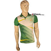 Thrax Polo Badminton T Shirt White and Green M3