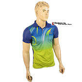Thrax Polo Badminton T Shirt Blue and Lime M1 Size Large