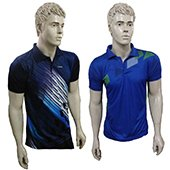 Combo Offer Thrax 2 Polo Badminton T shirt Blue and Purple White and Black Size Medium
