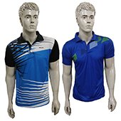 Combo Offer Thrax 2 Polo Badminton T shirt Blue and Sky Blue White and Black Size Medium