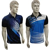 Combo Offer Thrax 2 Polo Badminton T shirt Sky Blue White and Black and Purple White and Black Size Medium