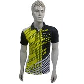Thrax Badminton T Shirt Color Neck with Half sleeve Black and Yellow Size Large