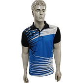 Thrax Polo Badminton T Shirt Color Neck with Half sleeve Sky Blue Black and White Size Medium