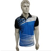 Thrax Polo Badminton T Shirt Color Neck with Half sleeve Sky Blue Black and White Size Small