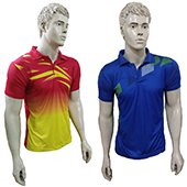 Combo Offer Thrax 2 Polo Badminton T shirt Red Yellow and Blue Size large