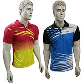 Combo Offer Thrax 2 Polo Badminton T shirt Red Yellow and Sky Blue White and Black Size large