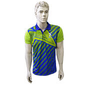 Thrax Polo Badminton T Shirt Color Neck with Half sleeve Lime and Blue Size Medium