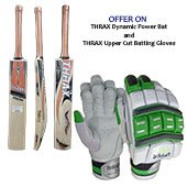 Offer on Thrax Dynamic Power English Willow Cricket bat and Thrax Upper Cut Batting Gloves Green