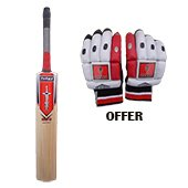 Offer on Thrax Natured Willow Cricket Bat and THRAX NEO 11 Cricket Batting Gloves