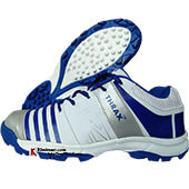 Thrax Hi Power Stud Cricket Shoes White and Blue