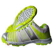 Thrax Hi Power Stud Cricket Shoes White and Lime