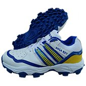 Thrax Saga Rev Cricket stud Shoes White Blue and Yellow
