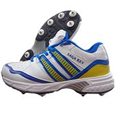 Thrax Saga Rev Full Spike Cricket Shoes White Blue and Yellow
