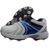 Thrax Revo Full Spike Cricket Shoes White and Blue