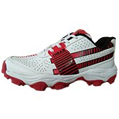 Thrax Pure Grip Stud Cricket Shoes White Red and Black