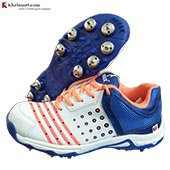 Thrax Field Power Full Spike Cricket Shoes White Orange and Blue