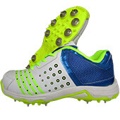 Spike Thrax Field Power Full Spike Cricket Shoes White Blue and Lime