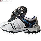 Thrax X Force Spike Cricket Shoes White and Blue