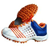 Thrax Field Power Stud Cricket Shoes White Orange and Blue