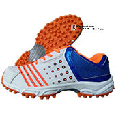 2c08a8a359a7 Thrax Field Power Stud Cricket Shoes White Orange and Blue