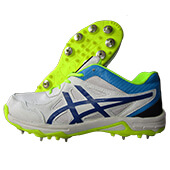 Thrax OptiPro Spike Cricket Shoes White Blue and Lime