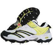 TK Bowlite Spike Cricket Shoes White and Lime