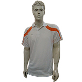 WEGA Badminton T Shirt White and Orange Color Neck With Half Sleeves Size XXL