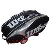 Wilson Tour 9 PK Tennis Kitbag Black and Silver