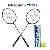 Set of 2 Yonex GR 303 Racket and 1 Mavis 07 Shuttlecock Set