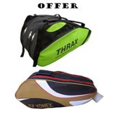 Offer on YONEX SUNR 8026 Badminton Kit Bag and Thrax Edition Badminton Kit Bag