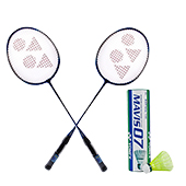 Set of 2 Yonex GR 303 Racket and 1 Mavis 07 Shuttlecock