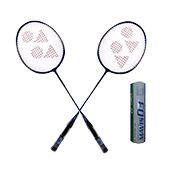 Set of 2 Yonex GR 303 Racket and 6 Mavis 07 Shuttlecock