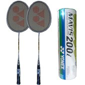 Set of 2 Yonex GR 303 Racket and 6 Mavis 200i Shuttlecock