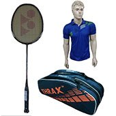 Offer On Yonex MP 29 Light Badminton Racket and Thrax Revo Kitbag and Thrax Polo Badminton T Shirt Blue Size Large