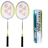 Set of 2 Yonex GR 301 Racket and 6 Mavis 200i Shuttlecock